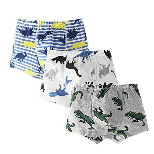 ANIMQUE Jungen Unterhosen Boxershorts Baumwolle für Baby Kinder Microfaser Modal Slips Hautfreundlich 3er Pack Dino, 120