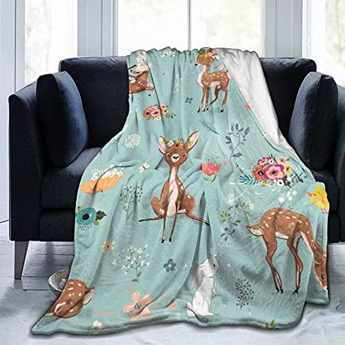 QUEMIN Manta de forro polar de franela de tamaño completo, manta de felpa para todas las estaciones para sofá, cama, camping, niños y adultos, 127 x 101 cm