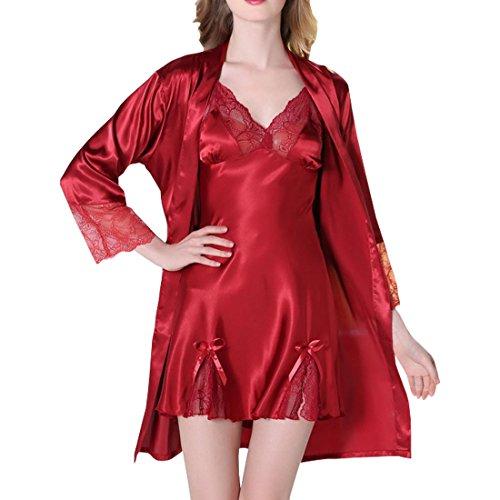 Sidiou Group Nacht Robe Damen Kimono Satin Morgenmantel Set Bademantel Kimono Frauen Schlafanzug Nachtwäsche Satin Nachthemd Langarm Dessous Babydoll Anzug (Weinrot, S)