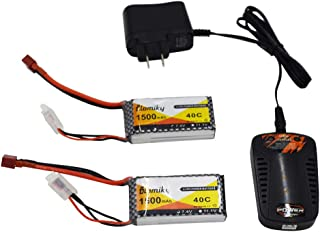 Blomiky 2 Packs 7.4V 1500mAH 35C Lipo Battery with Deans T Plug and Charger for RC Truck Car Vehicle Truggy RC Hobby 7.4V 1500mAh T 2