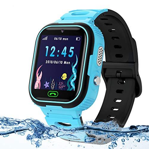 LUKYBIRDS Kids Smartwatch para Niños, LBS Tracker Reloj Inteligente Resistente al Agua Reloj niña de 3-12 años con cámara SOS Call Juego de Pantalla táctil para Regalo de cumpleaños para niños (Azul)