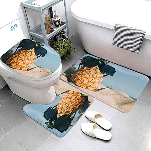 SDINAZ Alfombrillas de baño Set 3 Piezas Antideslizantes Lavables Alfombras de baño Moquetas Piña