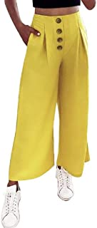 FSSE Women's Casual High Waist Solid Loose Wide Leg Palazzo Lounge Pants