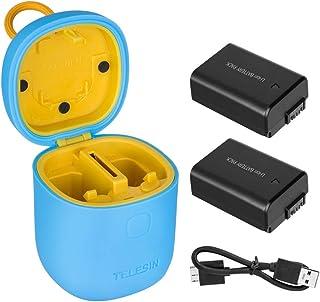 TELESIN allinbox Baterías para la cámara NP-FW50 Juego de Cargador para la batería Sony A6000 A6500 A6300 A7 A7II A7RII A7SII A7S A7S2A7RA7R2A55A5100(Allinbox Azul + 2 baterías NP-FW50)