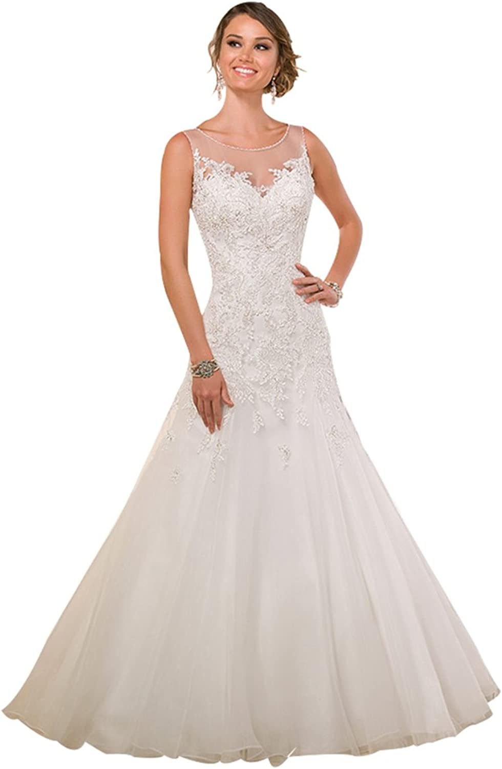 JoyVany Sheer Lace Wedding Dress Romantic Shoulder Straps Wedding Gowns Train