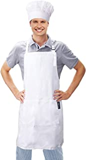 JoyFamily Chef Hat and Kitchen Apron Set, 100% Cotton Adjustable Bib, Perfect for Adults Cooking, Baking, Painting (White)