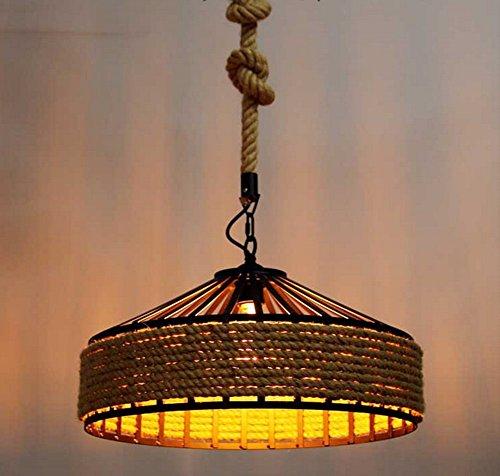 Lustre en Corde de Chanvre Rétro Industrielle Vent Light Cafe Restaurant Bar Magasin de vêtements Lustre, sans Ampoule, 30 * 30cm