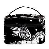 Bolsa de maquillaje monocromática con alas Pegasus para viajes, bolsa de maquillaje, organizador de maquillaje, con cremallera, para mujeres y niñas