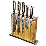 Stallion Damastmesser Ironwood Messerset - Messer aus Damaststahl und mit Griff aus Eisenholz inklusive Messerblock - 2