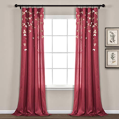 Lush Decor Flower Drop 84 x 42-Inches Curtain Panel, Red