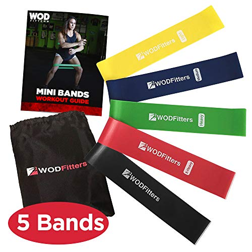 WODFitters Mini Bands Set - 5 Exercise and Workout Resistance Bands - Exercise Loops - Workout Flexbands for Stretching, Physical Therapy, Rehab, Home Fitness and Muscle Activation