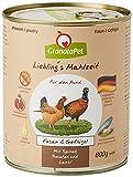 GranataPet Liebling's Comida faisán y Aves de Corral, Comida húmeda para Perros, sin Cereales ni azúcares, alimento Completo para Perros, 6 x 800 g