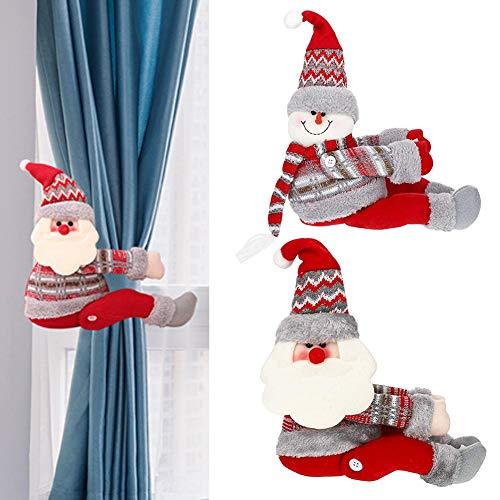 Abrazaderas Cortinas Navidad, Cuerda Cortina Figuritas de Navidad Papá Noel y Muñeco de Nieve Set Adorno de Navidad para Sujetar Cortinas con Gancho y Bucle para Decoraciones Árbol Navidad