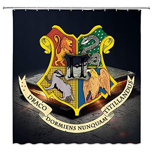 AMFD Duschvorhang Classic Film Harry Potter Wizarding Schule Logo Einzigartiges Design 177,8x 177,8cm Wasserdicht Polyester-Schimmel-Badezimmer Enthalten Haken Modern 70 x 70 inches Multi 4086