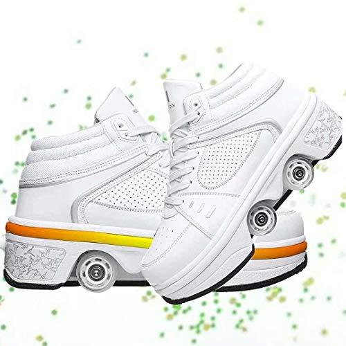 Zapatos de Carga USB Zapatos con Ruedas Zapatos de Patinaje sobre Ruedas para niñas Niños Niños Zapatos con Ruedas con luz LED Roller 2 en 1 Zapatos de Patinaje sobre Ruedas de Doble Fila