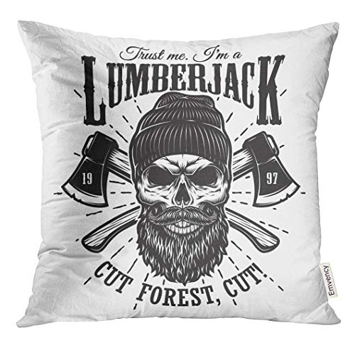 Throw Pillow Cover Vintage Hipster Lumberjack Emblem with Crossed Axes Behind The Skull in Beanie Beard and Mustache Decorative Pillow Case Home Decor Square Pillowcase 20 X 20 inchs
