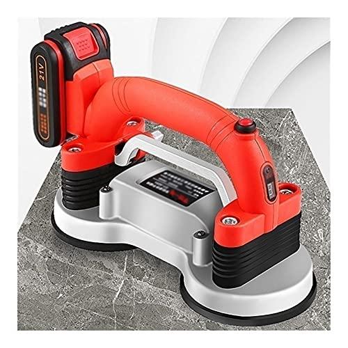 SKYWPOJU Azulejo, Máquina para Alicatar, 120Hz / s Herramienta vibratoria con ventosas Dobles- Azulejos de Suelo/Pared - Adsorción máxima de 200 kg (Color : Red, Size : 1x2xBatteries)