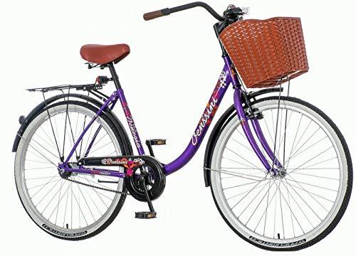 breluxx® 26 Zoll Economy Damenfahrrad Venssini Lady, 1 Gang, Rücktrittbremse, Citybike mit Korb + Beleuchtung, Retro Bike, violett, Made in EU