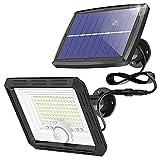 Kolpop Luz Solar Exterior, 108 LED Focos Led Exterior Solares IP65 Impermeable Luz Exterior con Sensor de Movimiento 120°Lluminación Foco Solar Exterior con 3M Cable para Garaje Jardin Patio