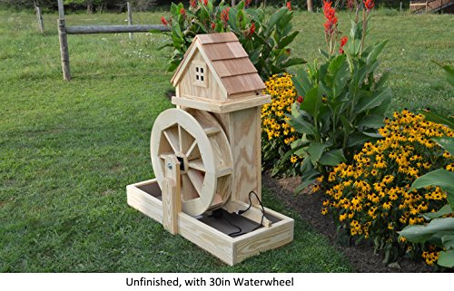 "Backyard Crafts Amish-Made Decorative Gristmills with 30"" Waterwheel, Unfinished"