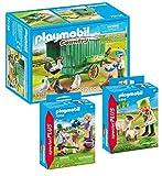 Playmobil 3er-Set: 70138 Mobiles Hühnerhaus + 9356 Bäuerin mit Schäfchen + 70155 Kinder mit...