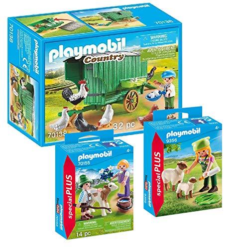 PLAYMOBIL Juego de 3 gallineros móviles 70138 + 9356 granja con ovejas + 70155 niños con ternera.