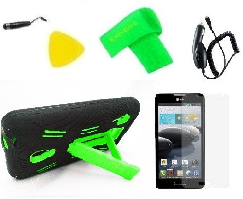 Heavy Duty Hybrid Phone Cover Case Cell Phone Accessory + Car Charger + Extreme Band + Stylus Pen + Screen Protector + Pry Tool For LG Optimus F6 D500 MS500 D505 (Black/Green)