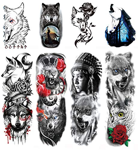 DaLin Temporary Tattoos Extra Large Full Half Arm Tattoo Sleeves Lion Tiger Wolf Fake Tattoos for Men Women 8 Sheets (Wolf Lion Collection)