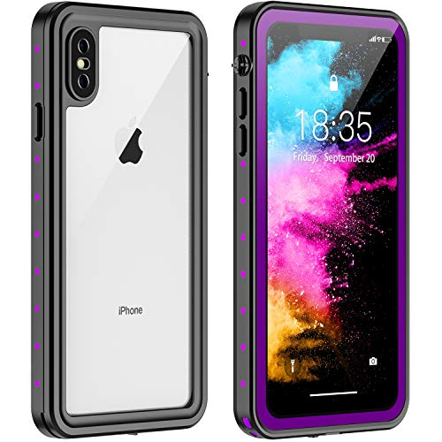 RedPepper iPhone X/XS Waterproof Case, Protective Clear Cover with Built-in Screen Protector,Support Wireless Charging IP68 Waterproof Shockproof Case for iPhone X/XS 5.8 inch (Purple)