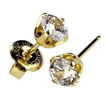 Ear PIERCING Earrings Gold 5mm Clear CZ Studs Studex System 75  Hypoallergenic