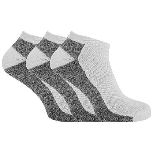Textiles Universels Socquettes de sport (lot de 3 paires) - Homme (41/46) (Blanc/Gris marne)