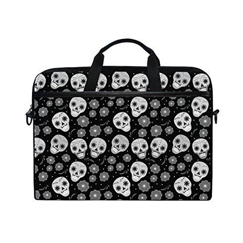 JSTEL Colorful Sugar Skull Laptop Shoulder Messenger Bag Case Sleeve for 14 inch to 15.6 inch with adjustable Notebook Shoulder Strap
