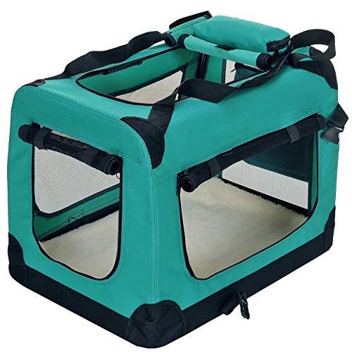 PET VIOLET Transportbox Hundebox Faltbar Katzenbox Hunde Tragetasche 62x42x44 cm, Grün