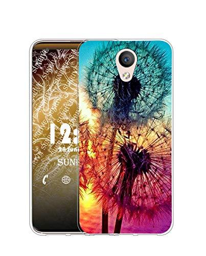 Sunrive Funda Compatible con Meizu M5, Silicona Slim Fit Gel Transparente Carcasa Case Bumper de Impactos y Anti-Arañazos Espalda Cover(Q Diente de león)
