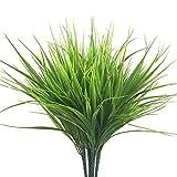 Plantas artificiales de 4 piezas Plantas de pasto de trigo Plantas de exterior, Plantas de plástico falso Arbustos Verdor de ventana Colgante, para Decoración de jardín de interior de exterior (green)