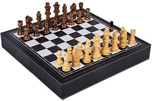 Juego de Ajedrez Tablero de Ajedrez Juego de ajedrez de madera maciza de tablero de ajedrez, piezas de ajedrez antideslizante hecha a mano de almacenamiento de tablero de ajedrez de madera sólido natu