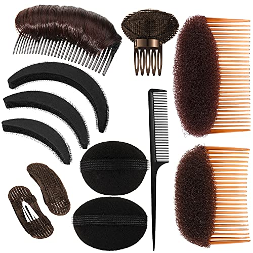 12 Pieces Hair Base Sponge Invisible Hair Clip Comb Bump It Up Volume Tool False Hair Pads Hair Bump Styling Insert Tool Hair Extensions Accessories (Black, Coffee, Dark Brown)