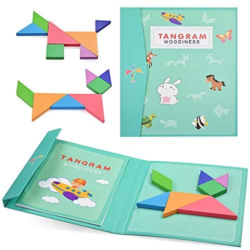 YoYo Tangram Magnétique,Puzzle Jeu Educatif Montessori,Blocs en Bois,Assemblage de Formes Géométriques,Enfant dès 3 Ans, Développement de la Créativité, Apprentissage des Formes et Couleurs