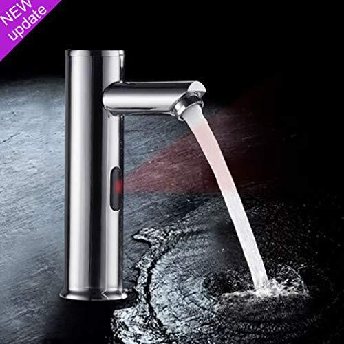 OUPAN Upgrade Vollautomatik Infrarot Sensor Wasserhahn Bad Armatur, Messing verchromt Waschtischarmatur mit kalt und warm Funktion