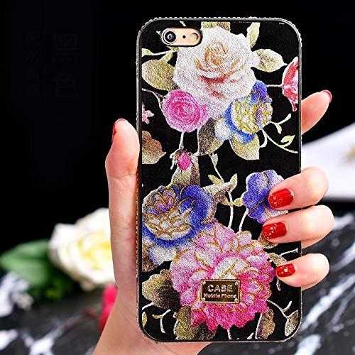 U-Unicorn telefoonhoes TPU + epoxy bloemen-serie telefoonhoes met kristallen ketting voor iPhone XS/X (zwart), zwart