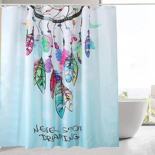 DECMAY Traumfänger Duschvorhang, Vintage Bohemian Stil, Bunt Federn Muster, Art Decor für Bad & Duschraum, 180 cm x 180 cm