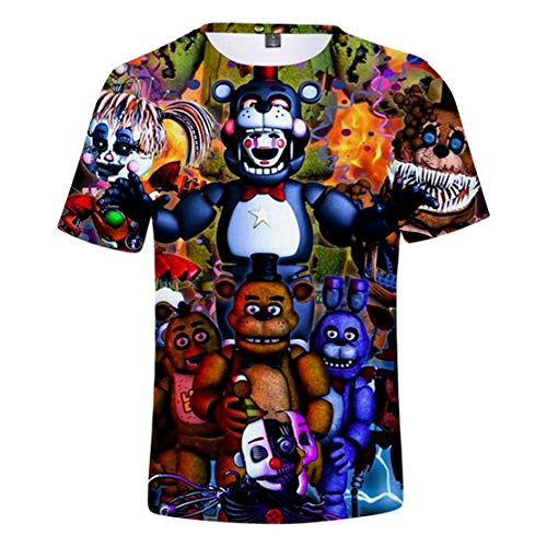 Siskey Unisex Cartoon T-Shirt Anime Kurzarm Tshirt,Five Nights at Freddy's Panels Boy's T-Shirt,3D Druck Anime Kurzarm Top -XS