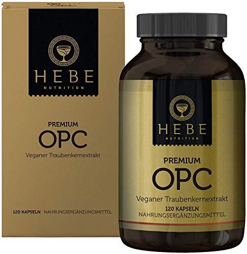 OPC Traubenkernextrakt Hochdosiert Kapseln, extrahiert in Frankreich aus französischen Trauben und auf 95{b5c12b28068030a3d6a0250d70ab1c603c8b78c6ea38338cfb28eadbca48332d} OPC-Gehalt standardisiert, keine Zusatzstoffe, vegan, Premium-Qualität von Hebe Nutrition