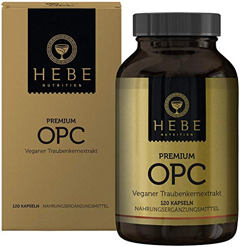 OPC Traubenkernextrakt Hochdosiert Kapseln, extrahiert in Frankreich aus französischen Trauben und auf 95{94038741f4a9e96cbbcce13742430d64a142865eb5d282adc2c090e1b17876c0} OPC-Gehalt standardisiert, keine Zusatzstoffe, vegan, Premium-Qualität von Hebe Nutrition
