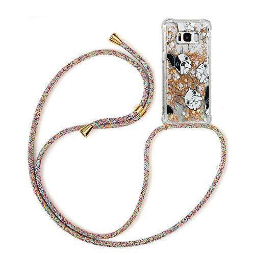 YMCASE Funda Bling Glitter Liquida con Cuerda para Samsung Galaxy S8 Plus,Transparente...