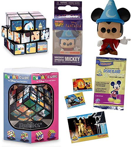 Magic Mickey Pocket Pop! Mini Figure Sorcerer Exclusive Bundled with Compatible with Rubik's Cube Park Puzzle + Disneyland Anniversary Trading Collector Cards Theme Pack 3 Items