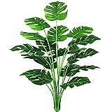 AIVORIUY Plantas Artificiales Hoja de Palmera Fake para Exterior Interior, Verde Artificial Monstera Deliciosa Árbol Ramas Falso Plastic Greenery Tropical Arbustos Decoracion para Macetas Oficina Sala