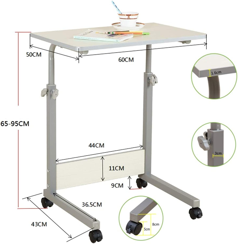 Virod-Desks Movable Bedside Table, Lift Adjustment Simple Computer Desk Multipurpose Learn Nursing Table, 3 Sizes Modern Style (Size   60  50cm(24  20in))