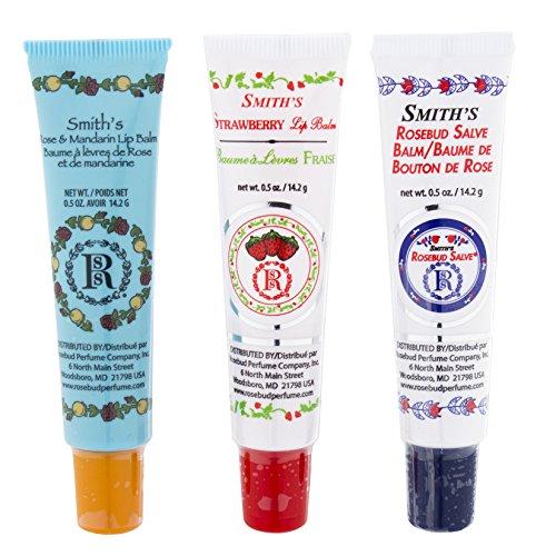 Rosebud Perfume Co. Tube 3 Pack: Smith's Rosebud Salve + Smith's Strawberry Lip Balm + Smith's Rose and Mandarin Lip Balm -  Rosebud Perfume Company, 1418151866700
