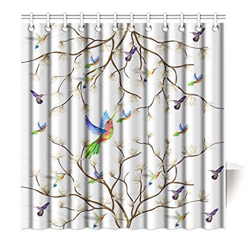 Violetpos Top Qualität Anti-Schimmel Duschvorhang Digitaldruck für Badezimmer Badvorhänge Kolibri Magnolie Blume Blumenzweig Hummingbird Vögel 90 x 180 cm